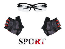 Sports goggles and gloves on a white background, set. Sports goggles and gloves, on a white background, set Royalty Free Stock Images
