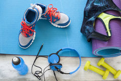 Sports goods on wooden background stock photo