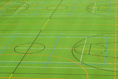Sports ground. A photograph of a sports field, marked out for a variety of games. Suitable as background Royalty Free Stock Photos