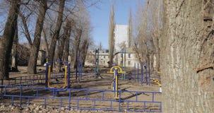 Sports ground in the depressive. UKRAINE, DNEPR - FEBRUARY 15, 2019: Sports ground in the depressive residential area of Pridneprovsk in February 15 2019 in stock video
