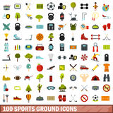 100 sports ground icons set, flat style. 100 sports ground icons set in flat style for any design vector illustration Royalty Free Stock Photo