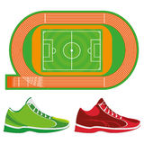Sports Ground Illustration And Sport Shoes Isolated On White BackgroundVector Sports Ground Illustration And Sport Shoes Isolated Stock Photos