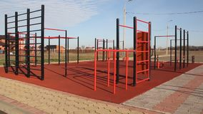 Sports ground. With the ladder and horizontal bar stock video