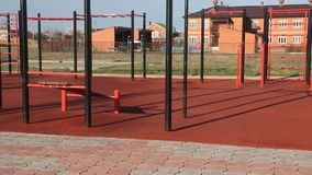 Sports ground with the ladder. And horizontal bar stock video