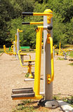 Sports ground in the park. Fitness equipment. Royalty Free Stock Photo