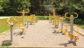 Sports ground in the park. Fitness equipment. Royalty Free Stock Image