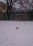 The sports ground at school in the winter Royalty Free Stock Photo