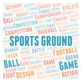 Sports Ground word cloud. Wordcloud made with text only vector illustration