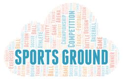 Sports Ground word cloud. Wordcloud made with text only stock illustration