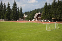 Sports grounds in mountains stock image