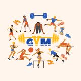 Sports in gym and sportsmen performing exercises vector illustration. Sporting runners, jumpers, athletes and disk