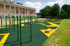 Sports gymnastic ground on the street. In Luzhniki, Moscow Stock Photo