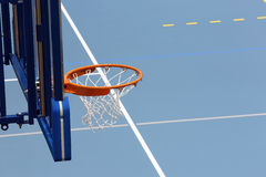 Sports hall basketball blue court Royalty Free Stock Photography