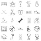 Sports hall icons set, outline style. Sports hall icons set. Outline set of 25 sports hall vector icons for web isolated on white background Stock Image