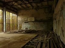 Sports Hall in Pripyat. Lazurny Sports Hall in Pripyat, abandoned city of Chernobyl Exclusion Zone Royalty Free Stock Photography