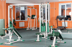 Sports hall with training apparatus Royalty Free Stock Photo
