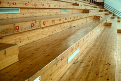 Sports hall wood seats Royalty Free Stock Photography