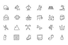 Sports Hand Drawn Doodle Icons 6 stock illustration