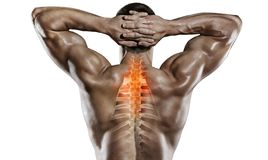 Sports and healthcare. Spine pain. stock photos