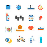 Sports healthy lifestyle diet app application flat vector Stock Photography