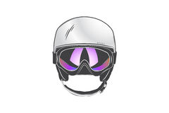 Sports helmet with goggles. Protective helmets for sports.  detailed subject. Typographic labels, stickers Royalty Free Stock Image
