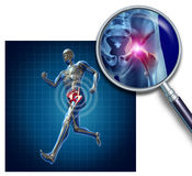 Sports Hip Injury. With a running athlete showing the anatomical skeleton with a red highlight on the hips magnified with a magnifying glass as a symbol of body Stock Photography