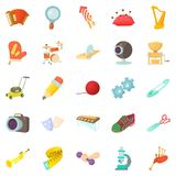 Sports hobby icons set, cartoon style. Sports hobby icons set. Cartoon set of 25 sports hobby vector icons for web isolated on white background Stock Photo