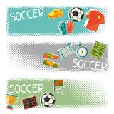 Sports horizontal banners with soccer (football Royalty Free Stock Photo