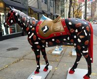 Sports Horse. This is a picture of a horse painted to represent Chicago's sports teams. It was part of a Public Art display on Michigan Avenue in Chicago stock images