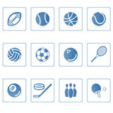 Sports icon I. A set of web icons with light reflections royalty free illustration