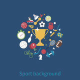 Sports icon round the winner cup. Sports background. Flat design, vector illustration Royalty Free Stock Photo