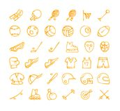 Sports icon set. Set of 36 sports hand drawn orange icons drawn with a felt-tip pen Royalty Free Stock Images
