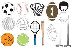Sports Icons. Vector Illustration of 15 sports icons isolated. No gradients were used. Available in other versions Stock Images