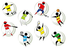 Sports icons. Modern isolated colorful sports icons Royalty Free Stock Photos