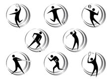 Sports icons. Modern isolated black sports icons Stock Images
