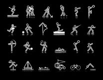 Sports Icons. White on black background - a selection of images in various sports-related activities stock illustration