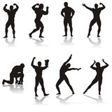 Sports icons. Silhouettes of bodybuilders royalty free illustration