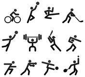 Sports Icons. /symbols showing twelve different kinds of sports games Royalty Free Stock Photo