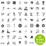 Sports icons basics. 60 sports icons basics Royalty Free Stock Images