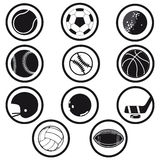 Sports icons black and white Royalty Free Stock Photos
