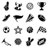Sports icons and fans equipment. Black silhouettes on white background. Vector illustration Royalty Free Stock Photo