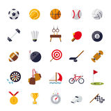 Sports icons flat design isolated vector set. Stock Photos