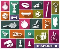 Sports icons in flat style. Simple icons of the sports goods and accessories Royalty Free Stock Image
