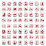 Sports icons set. 64 Fitness and Sport  icons for web and mobile. All elements are grouped Royalty Free Stock Photo