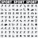 Sports icons set. Sports icons set Black figures sportsmen. Modern icons sportsmen Royalty Free Stock Photography