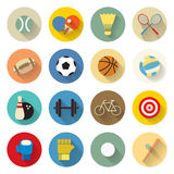 Sports icons set flat design with long shadow Stock Images