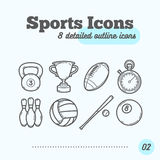 Sports Icons Set (Kettlebell, Trophy, Football, Timer, Skittles, Volleyball, Baseball, Billiard Ball) Royalty Free Stock Photo