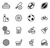 Sports icons set. With icons for many sports including football, cricket, curling and many more Stock Images