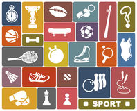Sports icons. Simple icons of the sports goods and accessories royalty free illustration