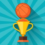 Sports illustration with basketball and prize in Royalty Free Stock Images